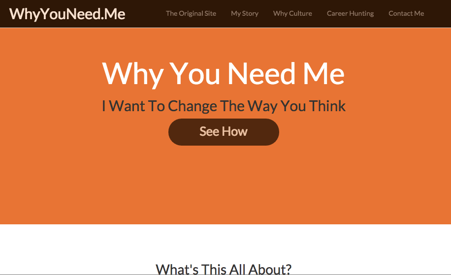 Why You Need Me is Elad Schor's brand website for career hunting